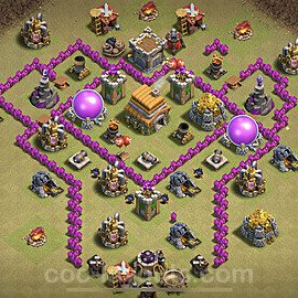 TH6 Max Levels War Base Plan with Link, Copy Town Hall 6 Design 2021, #26