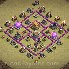 TH6 War Base Plan with Link, Copy Town Hall 6 CWL Design 2020, #6