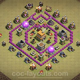 TH6 Anti 2 Stars CWL War Base Plan with Link, Copy Town Hall 6 Design 2020, #7