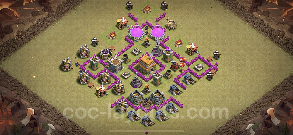 TH6 Anti 2 Stars War Base Plan with Link, Copy Town Hall 6 Design 2020, #14