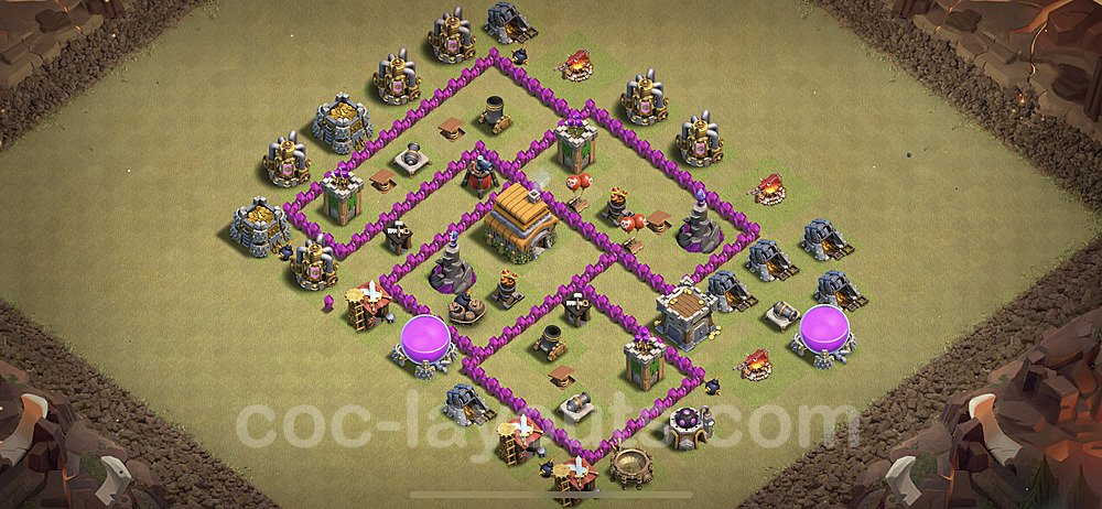 TH6 War Base Plan with Link, Copy Town Hall 6 Design 2020, #15