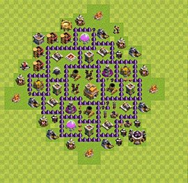 Base plan Town Hall level 7 for trophies (defence) (variant 1)