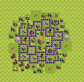Base plan Town Hall level 7 for trophies (defence) (variant 11)