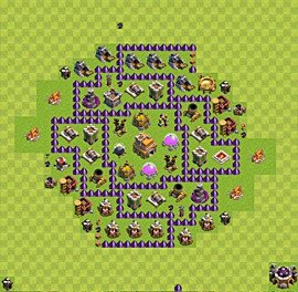 Base plan Town Hall level 7 for trophies (defence) (variant 13)