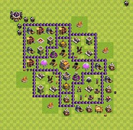 Base plan Town Hall level 7 for trophies (defence) (variant 14)