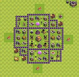 Base plan Town Hall level 7 for trophies (defence) (variant 15)