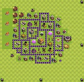 Base plan Town Hall level 7 for trophies (defence) (variant 17)