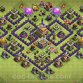 TH7 Anti 3 Stars Base Plan with Link, Copy Town Hall 7 Base Design 2020, #184