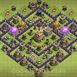 Anti Dragon TH7 Base Plan with Link, Copy Town Hall 7 Anti Air Design 2020, #188