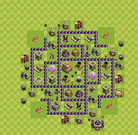 Base plan Town Hall level 7 for trophies (defence) (variant 19)