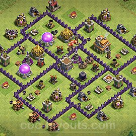 Anti Everything TH7 Base Plan with Link, Copy Town Hall 7 Design 2020, #193