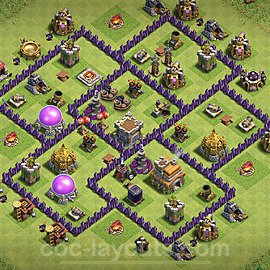 Anti Dragon TH7 Base Plan with Link, Copy Town Hall 7 Anti Air Design 2020, #194