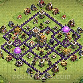 TH7 Anti 2 Stars Base Plan with Link, Copy Town Hall 7 Base Design 2020, #196