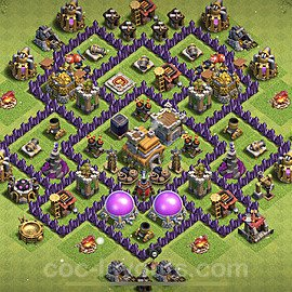 TH7 Anti 2 Stars Base Plan with Link, Copy Town Hall 7 Base Design 2021, #197