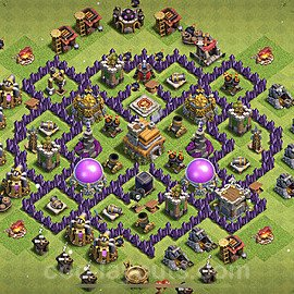 TH7 Anti 3 Stars Base Plan with Link, Copy Town Hall 7 Base Design 2021, #198