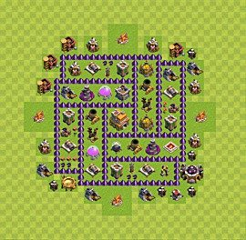 Base plan Town Hall level 7 for trophies (defence) (variant 20)
