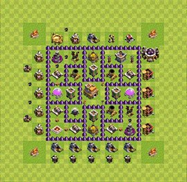 Base plan Town Hall level 7 for trophies (defence) (variant 23)