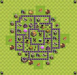 Base plan Town Hall level 7 for trophies (defence) (variant 25)