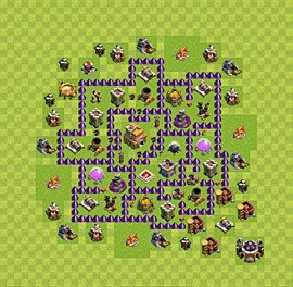 Base plan Town Hall level 7 for trophies (defence) (variant 31)