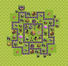 Base plan Town Hall level 7 for trophies (defence) (variant 32)