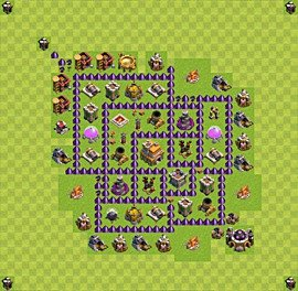 Base plan Town Hall level 7 for trophies (defence) (variant 33)