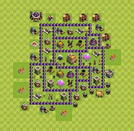 Base plan Town Hall level 7 for trophies (defence) (variant 35)