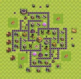 Base plan Town Hall level 7 for trophies (defence) (variant 36)