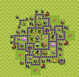 Base plan Town Hall level 7 for trophies (defence) (variant 39)