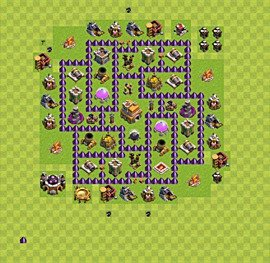 Base plan Town Hall level 7 for trophies (defence) (variant 4)