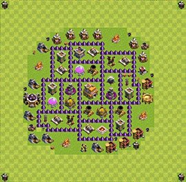 Base plan Town Hall level 7 for trophies (defence) (variant 41)