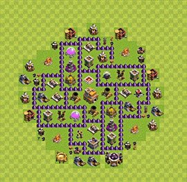 Base plan Town Hall level 7 for trophies (defence) (variant 42)