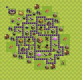 Base plan Town Hall level 7 for trophies (defence) (variant 44)