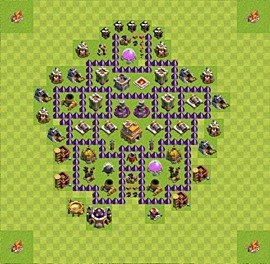 Base plan Town Hall level 7 for trophies (defence) (variant 48)