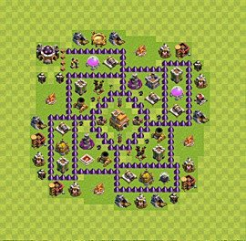 Base plan Town Hall level 7 for trophies (defence) (variant 5)