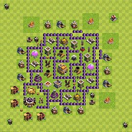 Base plan Town Hall level 7 for trophies (defence) (variant 60)