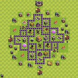 Base plan Town Hall level 7 for trophies (defence) (variant 66)