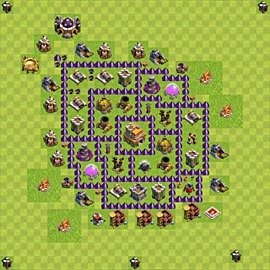 Base plan Town Hall level 7 for trophies (defence) (variant 68)