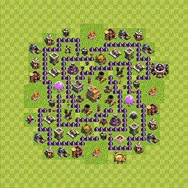 Base plan Town Hall level 7 for trophies (defence) (variant 69)