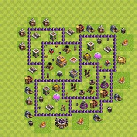 Base plan Town Hall level 7 for trophies (defence) (variant 75)