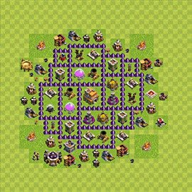 Base plan Town Hall level 7 for trophies (defence) (variant 76)