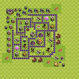 Base plan Town Hall level 7 for trophies (defence) (variant 77)