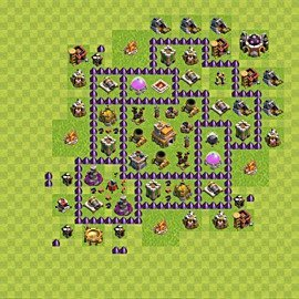 Base plan Town Hall level 7 for trophies (defence) (variant 80)