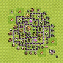 Base plan Town Hall level 7 for trophies (defence) (variant 82)