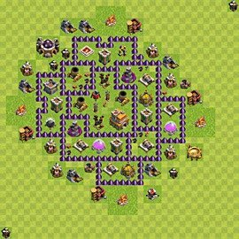 Base plan Town Hall level 7 for trophies (defence) (variant 83)