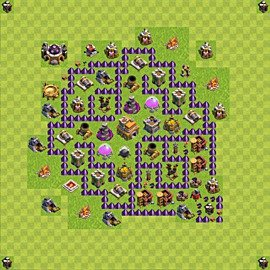 Base plan Town Hall level 7 for trophies (defence) (variant 85)