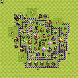 Base plan Town Hall level 7 for trophies (defence) (variant 86)