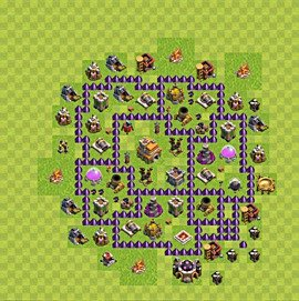 Base plan Town Hall level 7 for trophies (defence) (variant 89)
