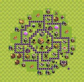 Base plan Town Hall level 7 for trophies (defence) (variant 9)