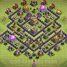 Top TH7 Unbeatable Anti Loot Base Plan with Link, Copy Town Hall 7 Base Design 2020, #94