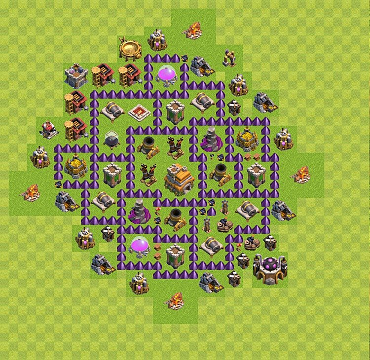 TH7 Trophy Base Plan, Town Hall 7 Base Design, #1